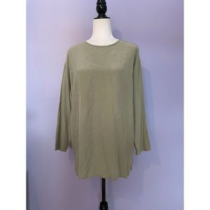 Eileen Fisher vintage silk green tunic blouse